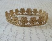 Hand Painted Gold Lace Flower Newborn Crown Great Photo Prop