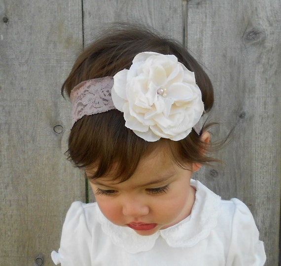 Vintage Style Ivory Rose and Lace Baby Headband