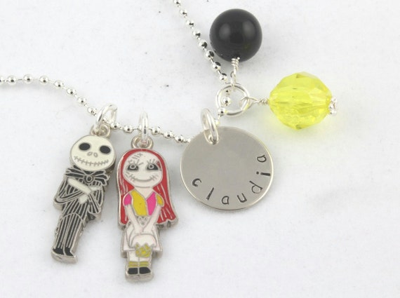 Jack Sally Charm Necklace Custom Personalized Silver Hand Stamped