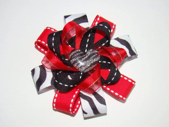 Red Zebra Hair Bows 112