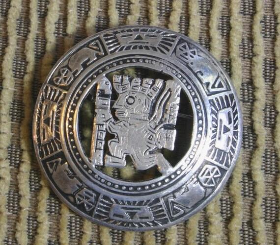 Vintage Peruvian JFG 925 Silver Inca Pin
