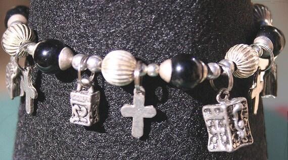 Vintage Prayer Charm Bracelet