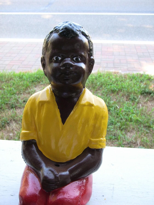Black fishing boy concrete statue lawn by westcreekstatuary for Little boy fishing statue