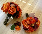 Hand Tied Orange and Purple Bridal Bouquet, Toss Bouquet and Boutonniere Set