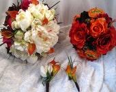 Hand Tied Orange, Purple and Cream Bridal Set
