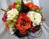 Hand Tied Orange Rose, Purple Hydrangea and Hops Two-Piece Bridal Bouquet Set