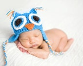 Owl Crochet Chullo Hat for Baby - Blue with Blue eyes - Premie - 12 months