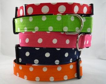 Dog Collar - Dog , Martingale or Cat Collar - All Sizes - Polka Dot