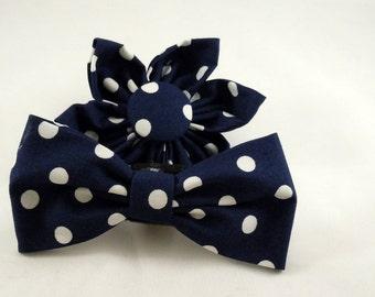 Dog Flower, Dog Bow Tie, Cat Flower, Cat Bow Tie- Navy Polka Dots