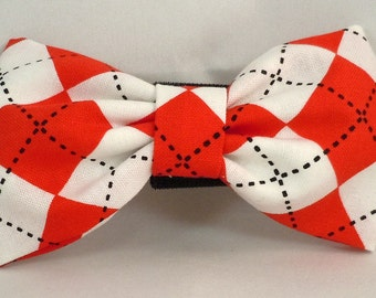 Dog Flower, Dog Bow Tie, Cat Flower, Cat Bow Tie  - Red and White Argyle