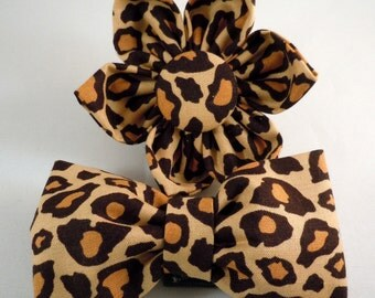 Dog Bow Tie or Flower - Leopard