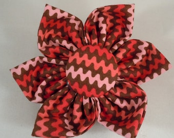 Dog Flower, Dog Bow Tie, Cat Flower, Cat Bow Tie - Pink and Brown Chevron