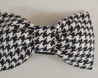 Dog Flower, Dog Bow Tie, Cat Flower, Cat Bow Tie  - Black and White Houndstooth