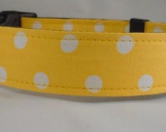 Dog Collar, Martingale Collar, Cat Collar - All Sizes - Yellow Polka Dots