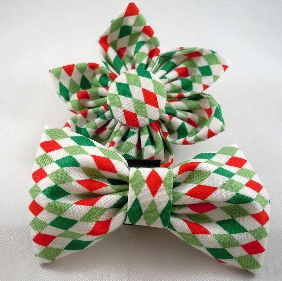 Christmas Dog Flower or Bow Tie - Christmas Diamonds