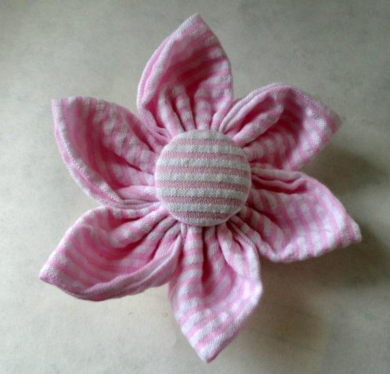 Dog Flower, Dog Bow Tie, Cat Flower, Cat Bow Tie - Pink Seersucker