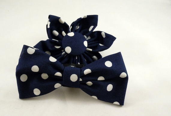 Dog Flower or Bow Tie - Ta Dot in Navy Blue