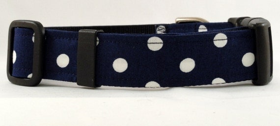 Dog Collar - Cat, Martingale or Dog Collar - All Sizes - Ta Dot in Navy Blue