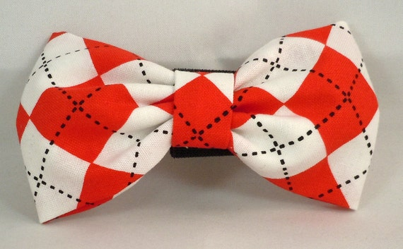 Dog Bow Tie or Flower  - Red and White Argyle