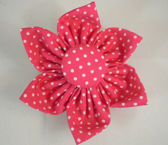 Dog Flower or Bow Tie - Small Pink and White Polka Dots