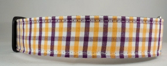 Dog Collar - Dog,  Martingale or Cat Collar - All Sizes -  Purple and Yellow Plaid