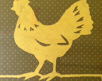 Vintage Folk Art Paper Cut Chicken