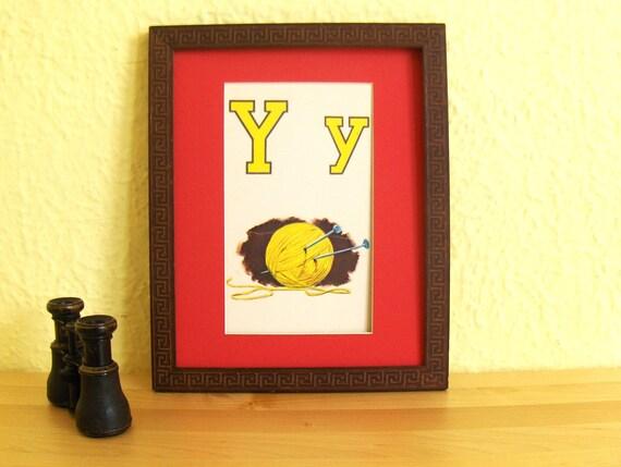 "Vintage Art Children's Book Framed Illustration ""Flash Card Alphabet Yarn"""