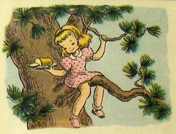 """PAGE FROM a BOOK Vintage Art Children's Book Framed Illustration """"Fairy Bread"""" Page from Book"""