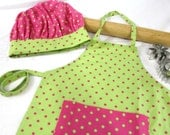 Lime Green and Hot Pink Child Apron and Adjustable Chef Hat