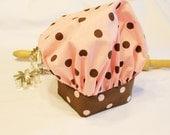 Pink N Brown Dot Child Chef Hat - Adjustable