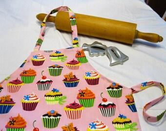 Retro Cupcakes on Pink Child Apron