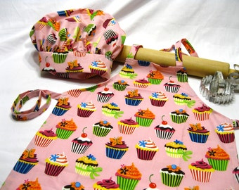 Birthday Party Pack of 8 Youth Aprons and 8 adjustable adult chef hats - custom, you choose fabrics