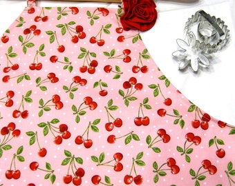 Retro Cherry Adult Apron with Rose Pin