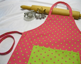 Hot Pink N Lime Green Child Apron