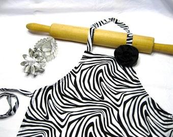 Zebra Child Apron with Fabric Rose Pin