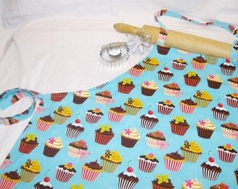 Retro Teal Cupcake Adult Apron