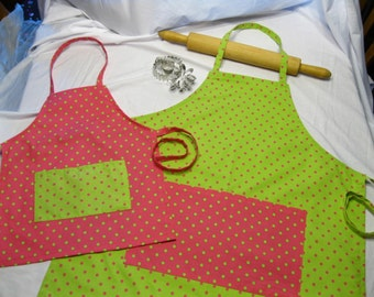 Lime Green N Pink Polka Dot Mother Daughter Aprons