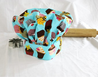 CLEARANCE Retro Teal Cupcake Child Chef Hat - Medium