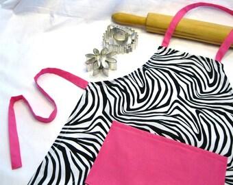 Zebra 'n Hot Pink Child Apron