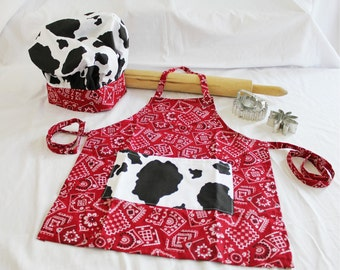 Bandanna and Cow Print Child Apron and Adjustable Chef Hat
