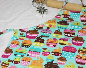 Sweet Cupcakes Youth Apron - teal