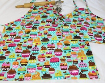 Teal Sweet Cupcakes Mother Daughter Aprons