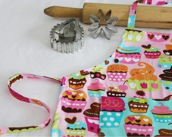 Sweet Cupcakes Child Apron - pink with teal cupcake pocket