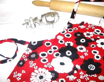 50s Red Flowered Child Apron