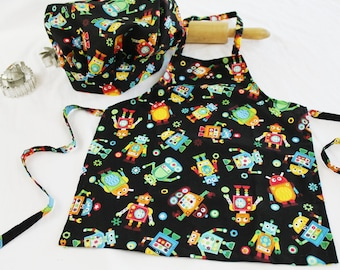Robot Child Apron and Adjustable Chef Hat