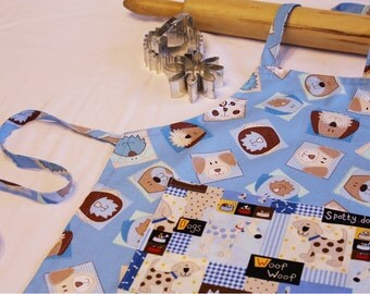 Blue Puppy Dogs Child Apron