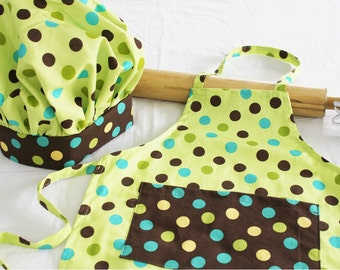 Fun Dots Child Apron and Adjustable Chef Hat