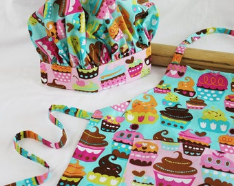 Sweet Cupcakes Child Apron and Adjustable Chef Hat - teal with pink pocket