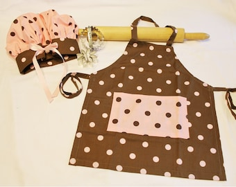 Brown and Pink Dot Child Apron and Adjustable Chef Hat