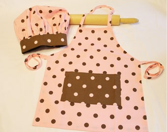 Pink and Brown Dot Child Apron and Adjustable Chef Hat